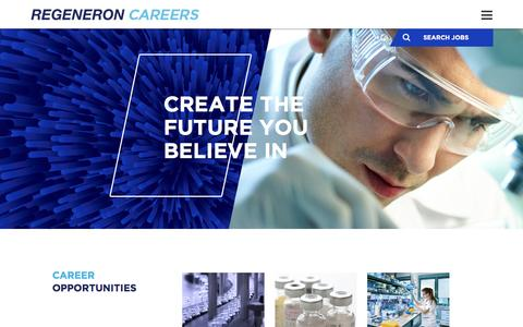 Screenshot of Jobs Page regeneron.com - Careers at Regeneron | Regeneron jobs - captured May 23, 2016