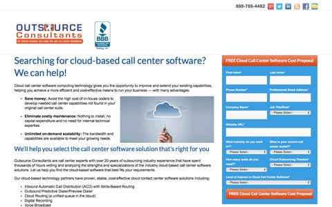 Screenshot of Landing Page outsource-consultants.com - Cloud-Based Call Center Software - captured Aug. 25, 2016