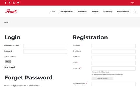 Screenshot of Login Page rosewill.com - Login - Rosewill - captured Sept. 21, 2018