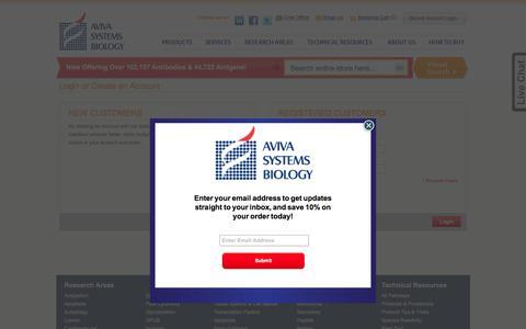 Screenshot of Login Page avivasysbio.com - Customer Login - captured Oct. 9, 2017