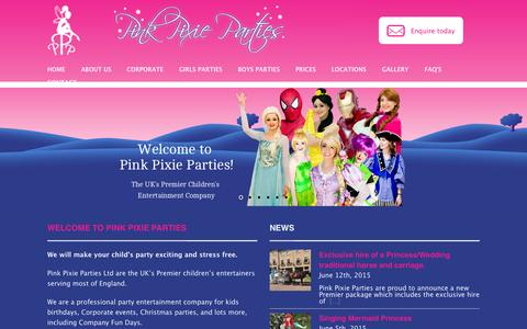 Screenshot of Home Page pinkpixieparties.co.uk - Professional UK Kids party entertainment company - captured June 16, 2015