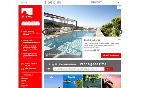 Screenshot of Home Page atraveo.com - Book holiday apartments & holiday houses online with atraveo - captured Feb. 7, 2016