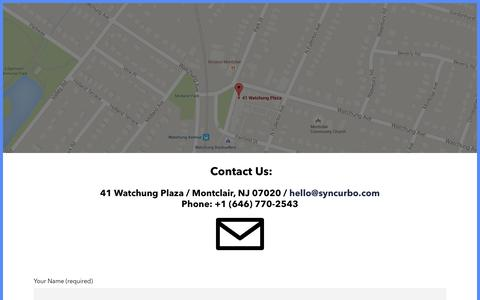 Screenshot of Contact Page syncurbo.com - Contact | Syncurbo - captured Jan. 12, 2016