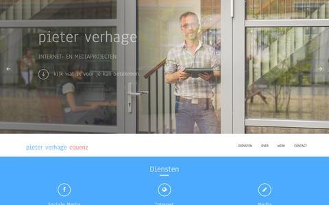 Screenshot of Home Page pieterverhage.nl - Pieter Verhage CQUENZ | Internet- en mediaprojecten - Verbeter uw online perfomance, ontwikkel mobiele toepassingen, sociale media integratie - captured Oct. 3, 2014