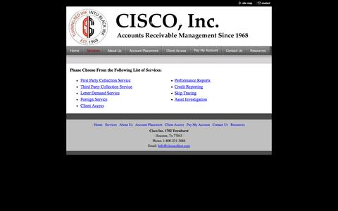Screenshot of Services Page ciscocollect.com - Services - captured Oct. 1, 2014