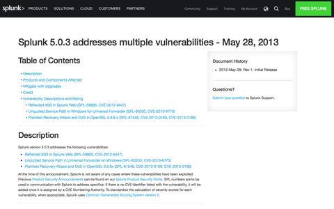 Splunk 5.0.3 addresses multiple vulnerabilities  - May 28, 2013 | Splunk