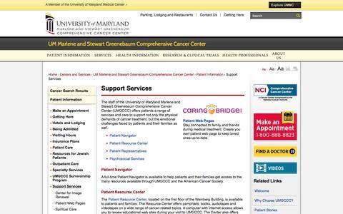 Screenshot of Support Page umm.edu - Support Services | University of Maryland Medical Center - captured Dec. 27, 2016