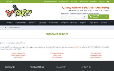 Screenshot of Support Page sfparty.com - Customer Service - captured July 26, 2018