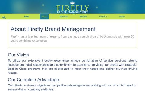 Screenshot of About Page fireflybrandmanagement.com - About Us | Firefly Brand Management - captured Aug. 3, 2016
