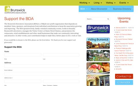 Screenshot of Support Page brunswickdowntown.org - Brunswick Downtown Association | Support The BDA | Brunswick Downtown Association - captured Oct. 5, 2014
