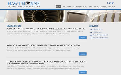 Screenshot of Press Page hawthorne.aero - News & Events, In The News - Hawthorne Corporation, Airport, FBO Management, Consulting, Investment - captured Nov. 1, 2014