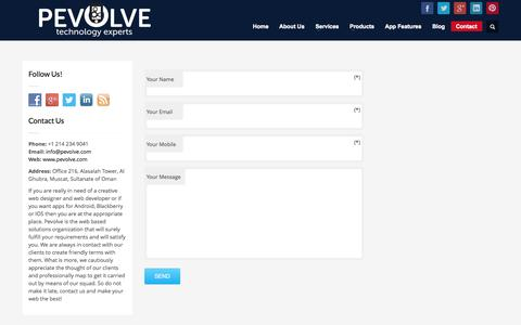 Screenshot of Contact Page pevolve.com - Mobile Application Development Costing - Apps Development Company - captured Oct. 7, 2014