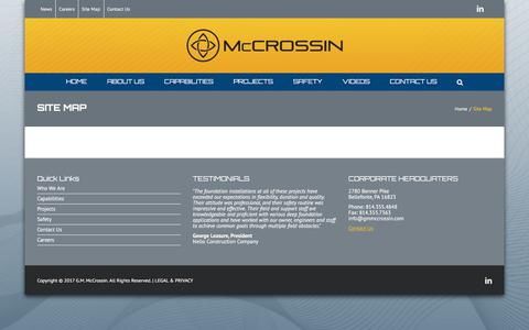 Screenshot of Site Map Page mccrossin.com - Site Map - McCrossin Corporate Site - captured Oct. 18, 2017