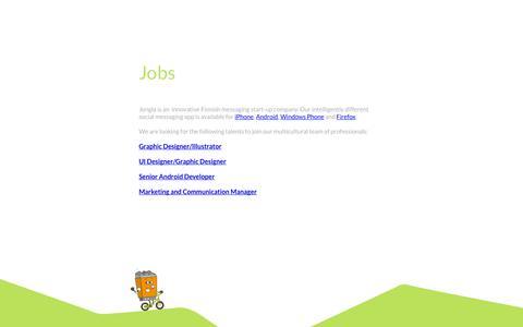 Screenshot of Jobs Page jongla.com - Jobs - Jongla – Instant Messenger - captured Sept. 16, 2014