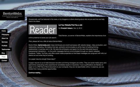 Screenshot of Press Page bentonwebs.com - Press - BentonWebs - captured Sept. 30, 2014