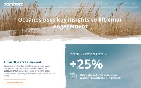 Screenshot of Case Studies Page bombora.com - Oceanos uses contact and Intent data for improved email engagement - captured Dec. 4, 2018