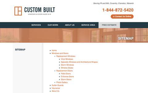 Screenshot of Site Map Page custombuiltri.com - Custom Built Sitemap - captured Sept. 30, 2018