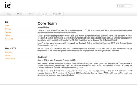 Screenshot of About Page iowaee.com - Core Team - Iowa Embedded Engineering - captured Oct. 6, 2014