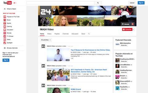 Screenshot of YouTube Page youtube.com - IMA24 Video  - YouTube - captured Oct. 25, 2014