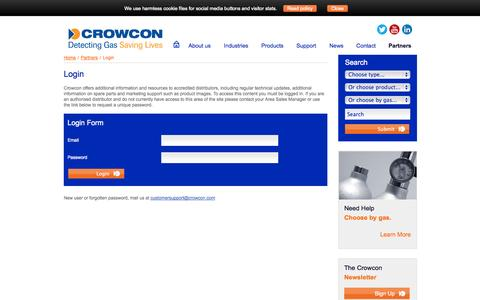 Screenshot of Login Page crowcon.com - Partners Login - captured Oct. 10, 2014