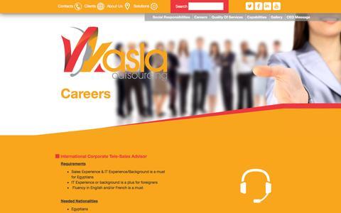 Screenshot of Jobs Page wasla.com - Welcome to Wasla Outsourcing © - captured Jan. 22, 2016