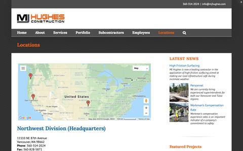 Screenshot of Locations Page mjhughes.com - Locations • MJ Hughes Construction - captured Oct. 1, 2018