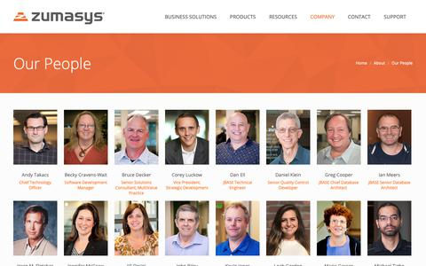 Screenshot of Team Page zumasys.com - Meet the Zumasys Team - captured Nov. 7, 2018