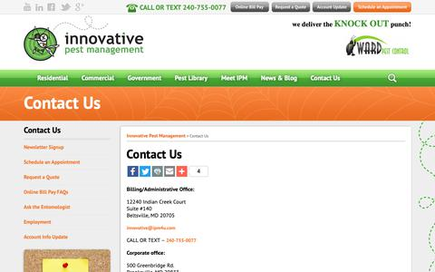 Screenshot of Contact Page ipm4u.com - Contact Us - Innovative Pest Management - captured Oct. 12, 2018
