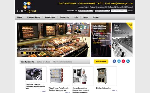 Screenshot of Home Page chefsrange.co.uk - Commercial Catering Equipment | Commerical refrigeration equipment | Gas Pizza ovens | Electric pizza ovens | Chicken rotisseries | Gas fryers | Electric fryers | Commercial pizza ovens | Gas ranges | Ice makers | Refrigerators | Freezers | Gas gridd - captured Sept. 29, 2014