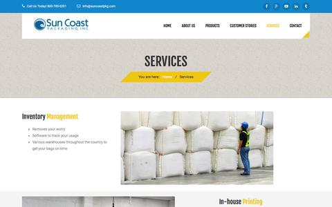 Screenshot of Services Page suncoastpkg.com - In house printing, inventory management | Suncoast Packaging - captured Feb. 16, 2016