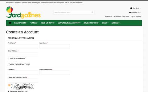 Screenshot of Signup Page yardgames.com.au - Create New Customer Account - captured Sept. 30, 2014