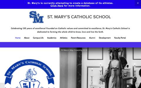 Screenshot of Home Page smstigers.org - St. Mary's Catholic School Celebrating 130 years! - captured July 3, 2018