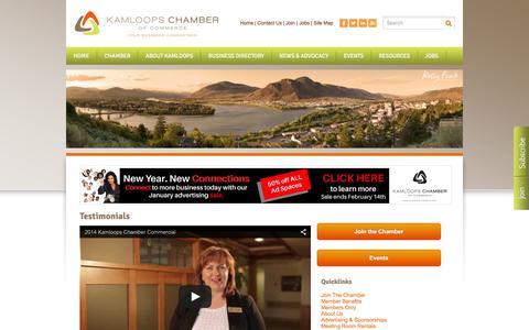 Screenshot of Testimonials Page kamloopschamber.ca - Testimonials - Kamloops Chamber of Commerce | Kamloops, BC - captured Feb. 12, 2016