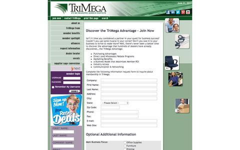 Screenshot of Signup Page trimega.org - Discover the TriMega Advantage - Join Now - captured June 22, 2017