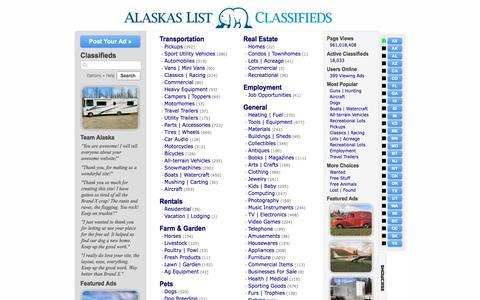 Screenshot of Home Page alaskaslist.com - Alaska's List Classifieds - captured Sept. 24, 2018