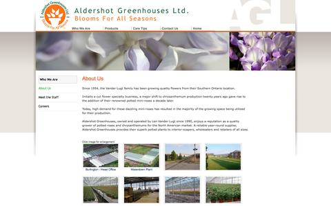 Screenshot of About Page aldershotgreenhouses.com - Aldershot Greenhouses Ltd - About Us - captured Feb. 5, 2016
