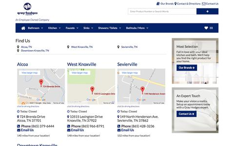 Screenshot of Locations Page Maps & Directions Page grayhodges.net - Gray Hodges Plumbing Showroom Locations - Downtown Knoxville - West Knoxville - Alco - Sevierville - captured Sept. 17, 2017