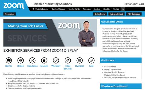 Screenshot of Services Page zoomdisplay.co.uk - Exhibitor Services from Zoom Display - captured Oct. 26, 2017