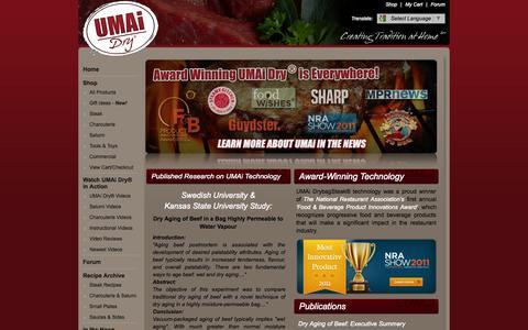 Screenshot of Press Page drybagsteak.com - DrybagSteak.com UMAI Press Notes | Dry Aged Steak Pros | Dry Aging Beef - captured Sept. 23, 2014