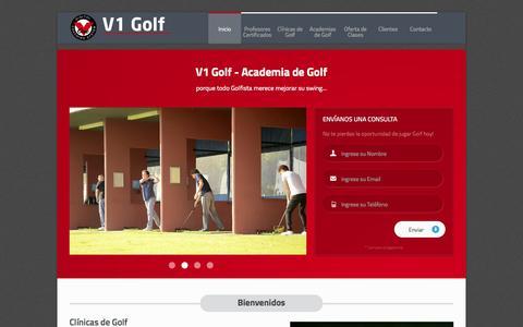 Screenshot of Home Page v1golf.com.ar - V1 Golf - Escuela de Golf, Academia de Golf, Clases de Golf - captured Oct. 7, 2014