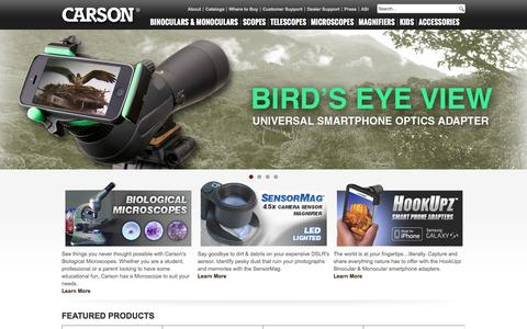 Screenshot of Home Page carson.com - Manufacturer of High Performance Binoculars, Telescopes, Microscopes and Magnifiers - captured July 27, 2015