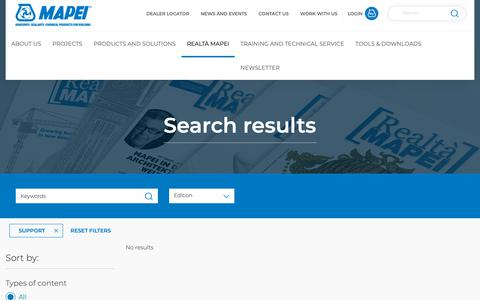 Screenshot of Support Page mapei.com - Search results | Mapei - captured Oct. 25, 2018