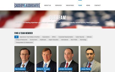 Screenshot of Team Page cassidy.com - Cassidy and Associates   –  Our Team - captured Sept. 27, 2018