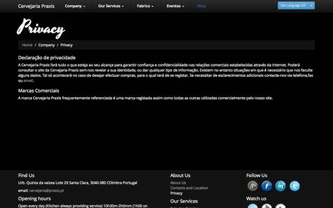 Screenshot of Privacy Page praxis.pt - Praxis : Privacy - captured Oct. 3, 2014