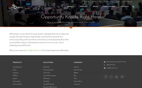 Screenshot of Jobs Page knowlarity.com - Cloud Based Call Center Solutions in India - Knowlarity.com - captured Jan. 9, 2016