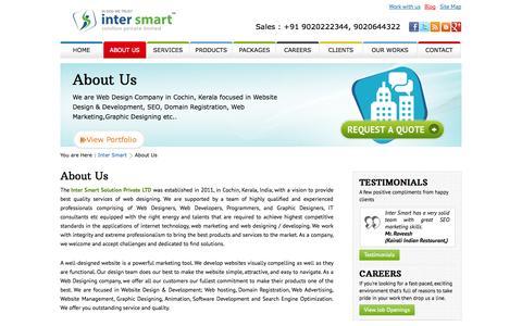 Screenshot of About Page intersmart.in - Intersmart - Web Design Company - captured Nov. 3, 2014