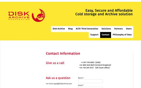 Screenshot of Contact Page diskarchive.com - Contact - ALTO - Easy, Secure and Affordable Cold storage and Archive - captured Nov. 24, 2016