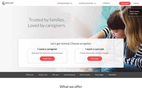 Screenshot of Home Page care.com - Care.com: Find Child Care, Senior Care, Pet Care and Housekeeping - captured Nov. 30, 2017