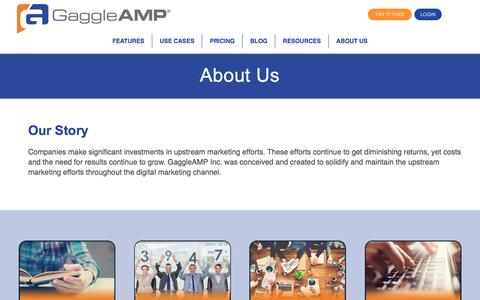 Screenshot of About Page gaggleamp.com - GaggleAMP Leader in Employee Advocacy Tools - captured Oct. 9, 2016