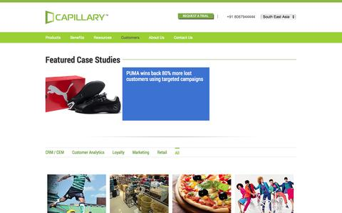 Screenshot of Case Studies Page capillarytech.com - Success stories with proven ROI from leading retailers & consumer brands   Capillary Technologies - captured Oct. 28, 2014